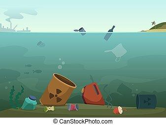 débris, concept, bouteilles, nature, déchets ménagers, plastique, eau, waste., vecteur, sale, fond, océan, animaux, sauver, pollution