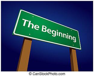 début, vert, route, illustration, signe