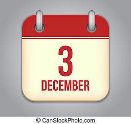 décembre, app, 3, vecteur, icon., calendrier
