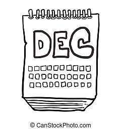 décembre, projection, mois, noir, freehand, dessiné, calendrier, blanc, dessin animé
