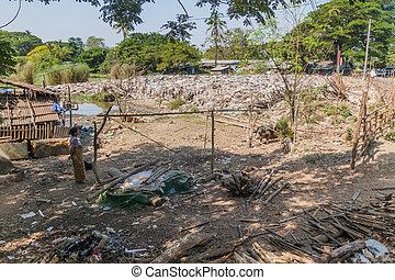 décharge, 2016:, bago, 10, déchets, décembre, -, myanmar, bago