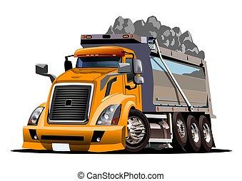 décharge, dessin animé, vecteur, camion