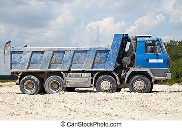 décharge, fret, camions, corps