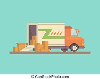 déchargement, chargement, ou, camion livraison