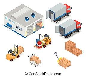 déchargement, chargement, ou, camion, warehouse.