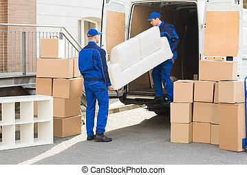 déchargement, sofa, camion, déménageurs