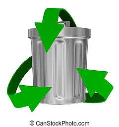 déchets, image, recyclage, flèches, isolé, basket., 3d