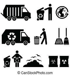 déchets ménagers, déchets, icônes