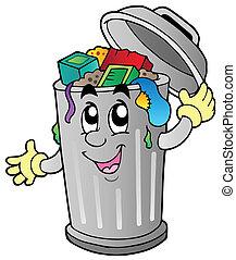 déchets ménagers, dessin animé, boîte
