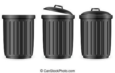 déchets ménagers, noir, boîtes