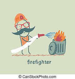 déchets ménagers, pompier, met, dehors