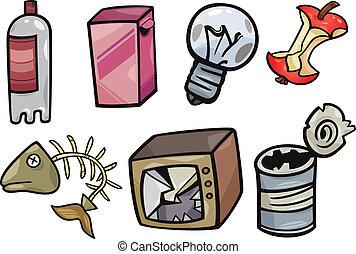 déchets, objets, ensemble, dessin animé, illustration