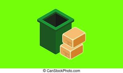 déchets, recyclage, animation, icône