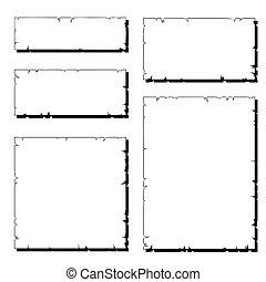 déchiré, ensemble, vieux, cadre, papier, blanc, ombre
