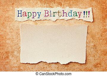 déchiré, grunge, bords, anniversaire, arrière-plan., carte papier, heureux