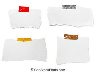 déchiré, noter papier, fond, message, blanc
