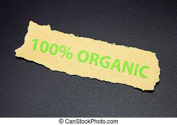 déchiré, organique, papier, texte, 100%, étiquette, eco, nourriture