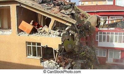 déchirure, bâtiment, bas, vieux, site