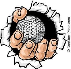 déchirure, golf, fond, balle, main