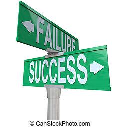 décider, bon, reussite, pointage, être, bidirectionnel, destin, signe, symbolizing, mauvais, rue, vert, échec, entre, carrefour, ou, résultat
