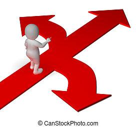 décider, ou, alternatives, projection, flèches, choix, options