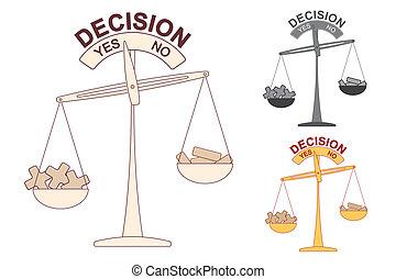décision, échelle, plus, moins