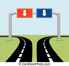 décision, concept, panneaux signalisations