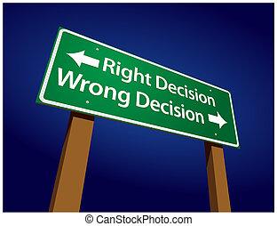 décision, décision, illustration, signe, mal, droit, vert, route