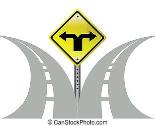 décision, flèches, direction, choix