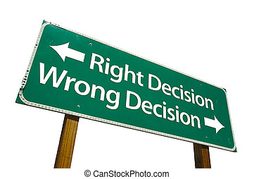 décision, right/wrong, signe