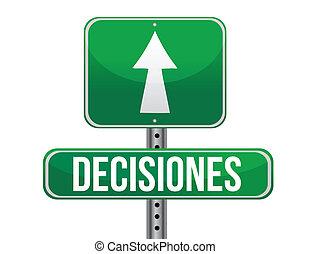 décision, signe, vert, espagnol