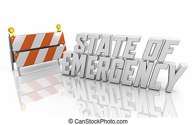 déclaration, ordre, cadre, urgence, barricade, 3d, illustration, mesure, état, sécurité, crise
