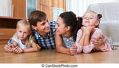 décontracté, conjugal, famille, intérieur