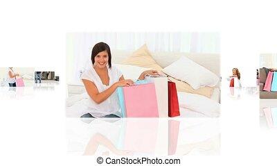 décontracté, gens, maison, montage, avoir, leur, achats, fait