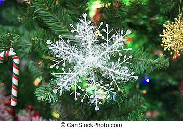 décoré, arbre, flocon de neige, noël