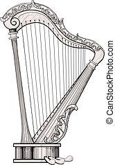 décoré, harpe