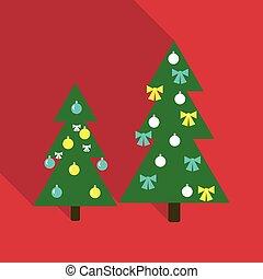 décoré, vecteur, arbre, noël, illustration