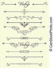 décor, éléments, conception, page, calligraphic