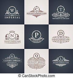 décor, elements., modèle, set., ornement, calligraphic, élégant, luxe, vendange, logo