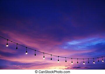 décor, ficelle, lumière, ciel, coucher soleil, ampoule, plage