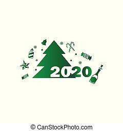 décor, noël, icône, arbre, gros plan, gabarit, année, -vector, nouveau, vert