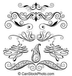 décoratif, éléments floraux, conception