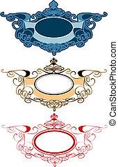 décoratif, étiquettes, ornement