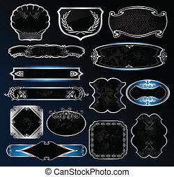 décoratif, étiquettes, vecteur, noir, cadres, argent