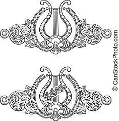 décoratif, ancien, lyre, elements.