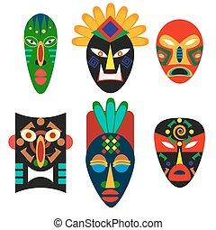 décoratif, ancien, peuples, africaine, continent., decoration., masque, zulu., shamans, indigène, traditionnel, culture, aborigène, voodoo., tribes., ethnique, secte, religieux, ou