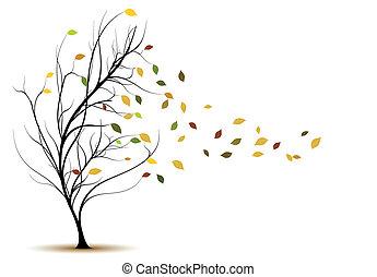 décoratif, arbre, vecteur, silhouette