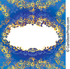 décoratif, bleu, cadre, floral