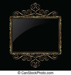 décoratif, cadre, noir, or