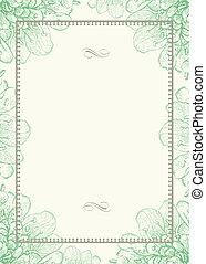 décoratif, cadre, vecteur, arrière-plan vert, floral